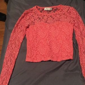 Pink laced long sleeved crop top